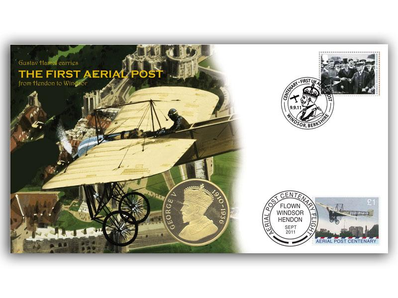 Aerial Post Centenary - Hendon to Windsor Coin Cover