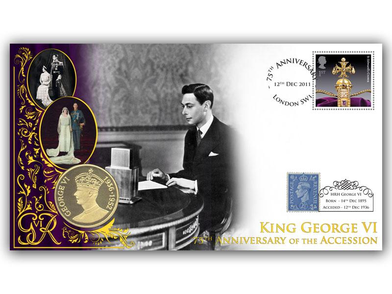 75th Anniversary of the Accession of King George VI Coin Cover