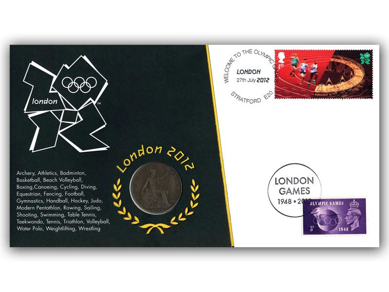 London Olympics 2012 1908 Penny Coin Cover
