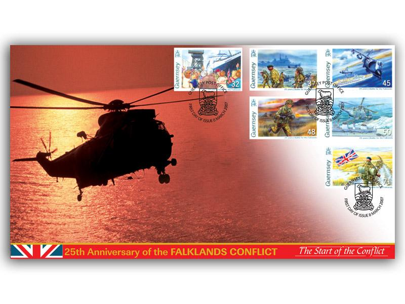 Falklands Conflict - The Start of the Conflict (Guernsey Stamps)