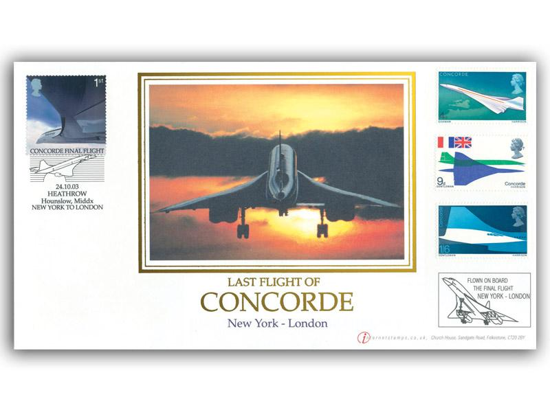 Concorde Final Flight New York to London Flown Cover