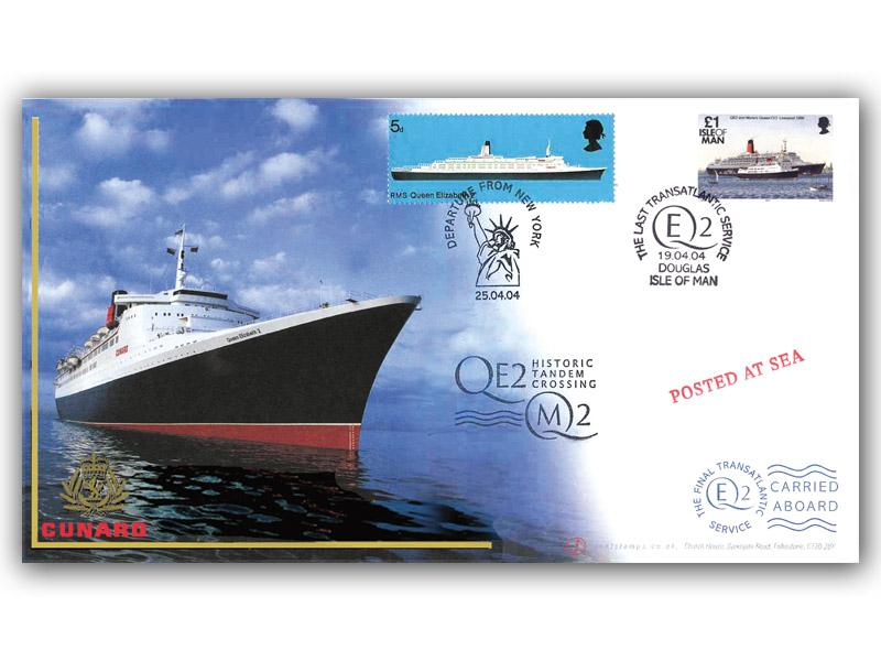 QE2 Last Transatlantic Voyage Carried Cover with IOM Stamp