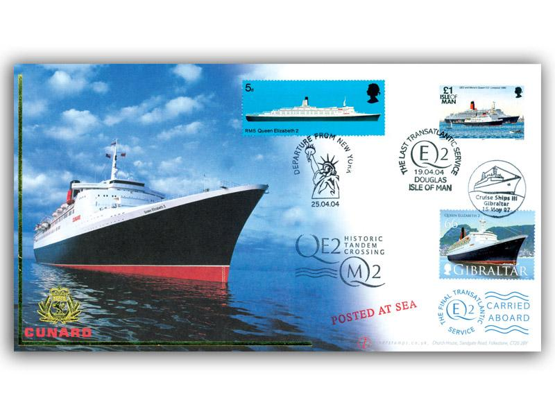 QE2 Last Transatlantic Voyage Carried Cover with Gibraltar Stamp