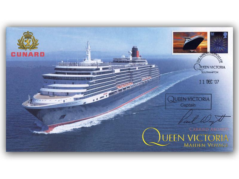 Queen Victoria Maiden Voyage Carried Cover signed by Captain P Wright