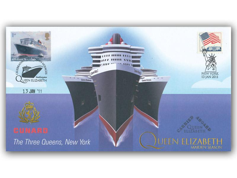 Cunard - The Three Queens Meeting in New York - Queen Elizabeth Carried Cover