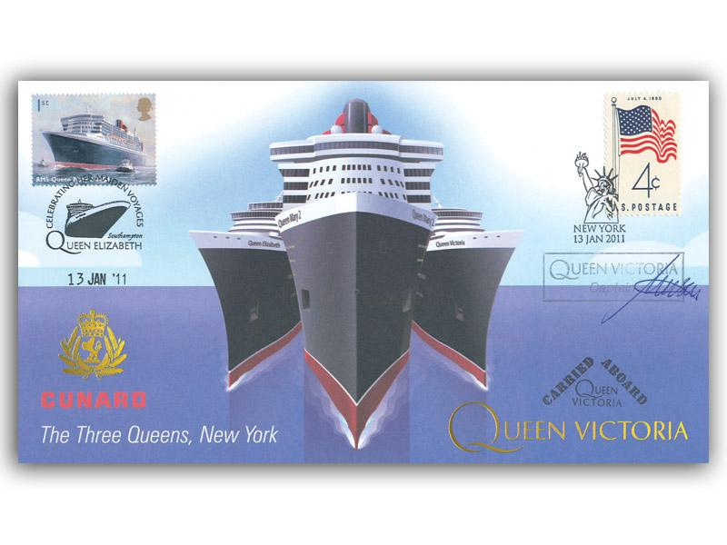 Cunard - The Three Queens Meeting in New York - Queen Victoria Carried Cover