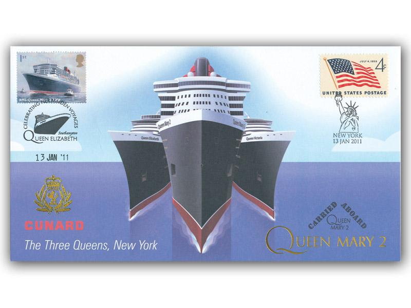 Cunard - The Three Queens Meeting in New York - Queen Mary 2 Carried Cover