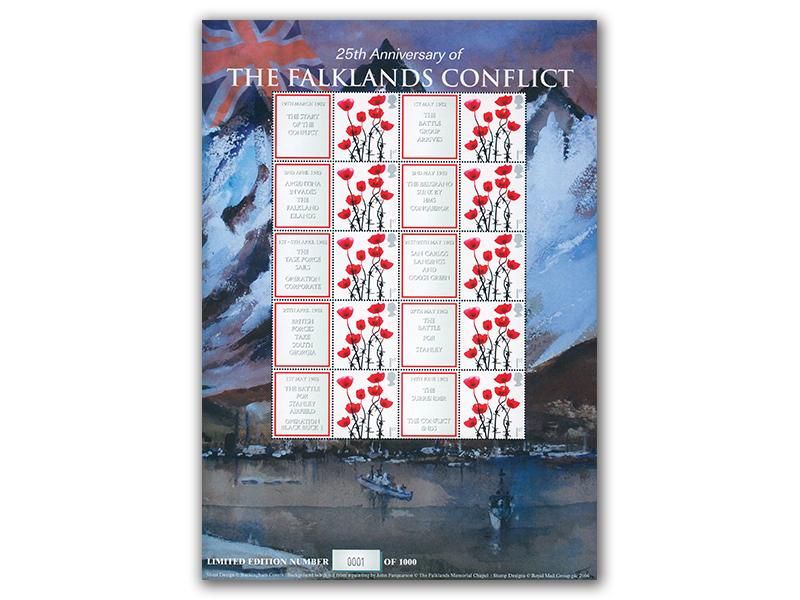 Falklands Confilict 25th Anniversary Stamp Sheet
