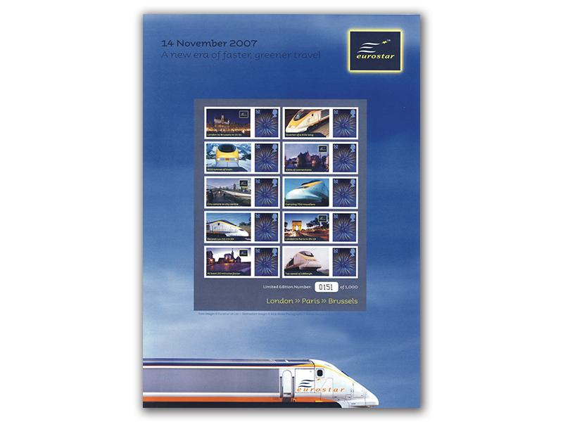 Eurostar - First Train from St. Pancras Stamp Sheet