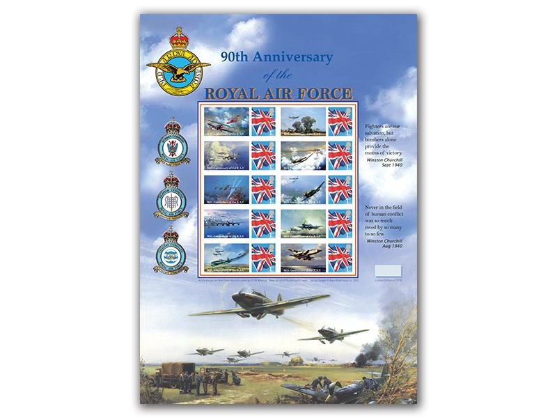 90th Anniversary of the RAF Stamp Sheet