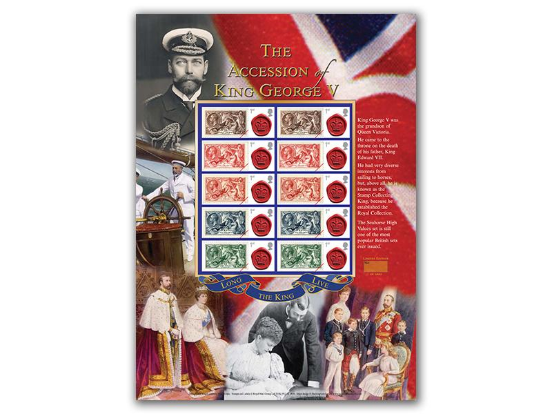 The Accession of King George V Presentation Stamp Sheet