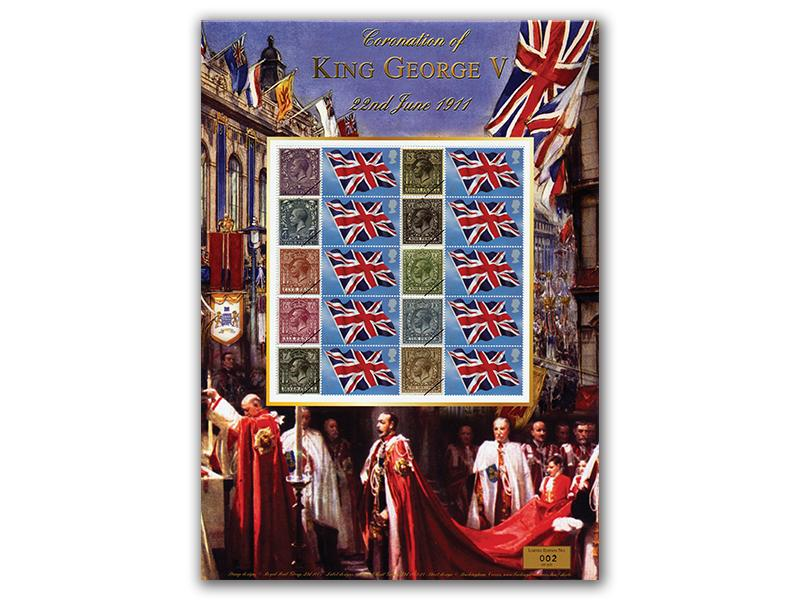 Coronation of King George V Mint Stamp Sheet