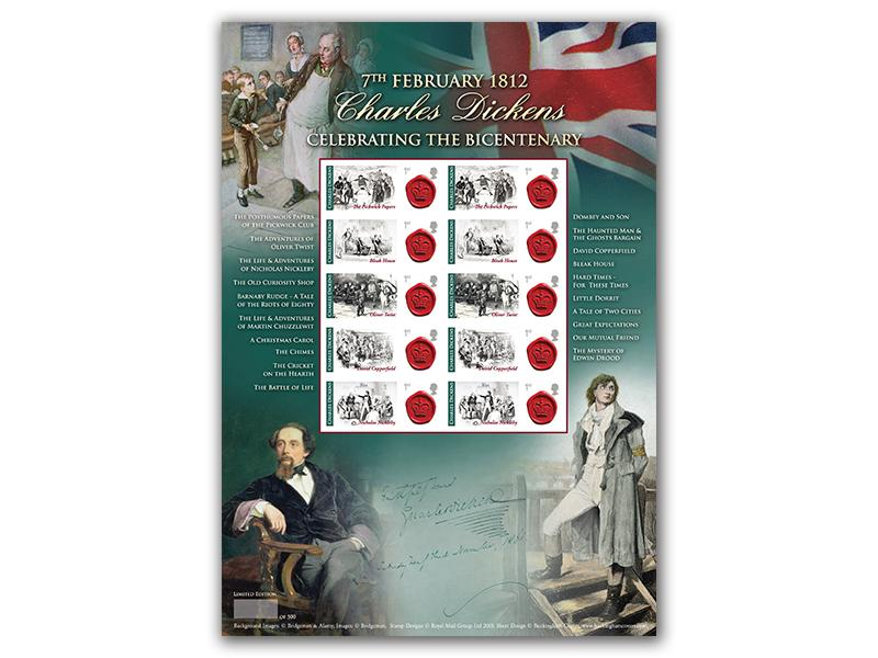 Bicentenary of Dickens Mint Stamp Sheet