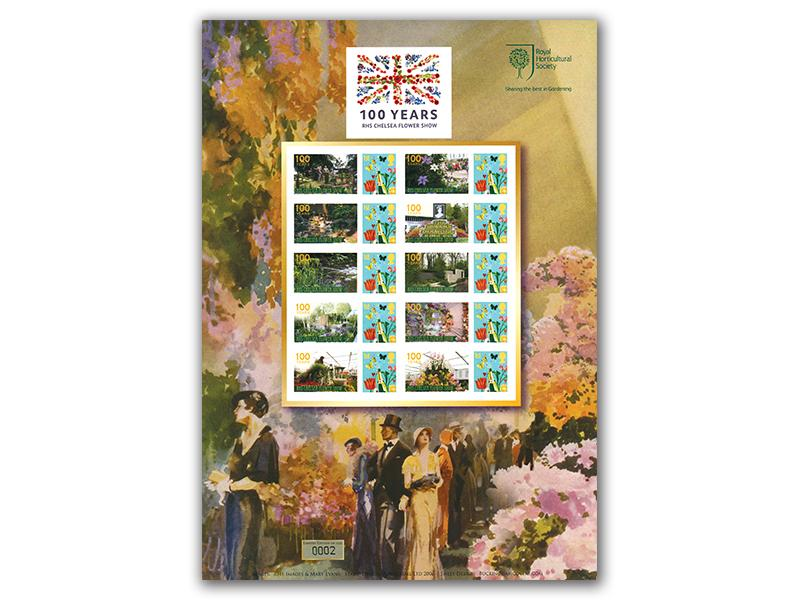 Celebrating 100 Years of the RHS Chelsea Flower Show Stamp Sheet