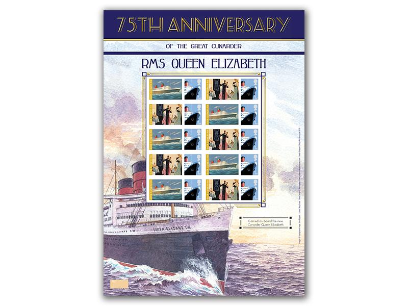 75th Anniversary of RMS Queen Elizabeth Stamp Sheet