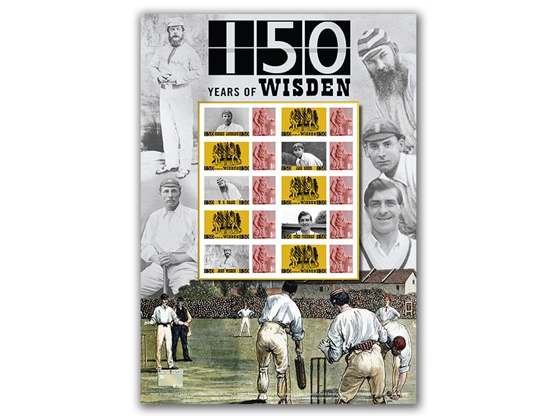 Celebrating 150 Years of Wisden Stamp Presentation Sheet