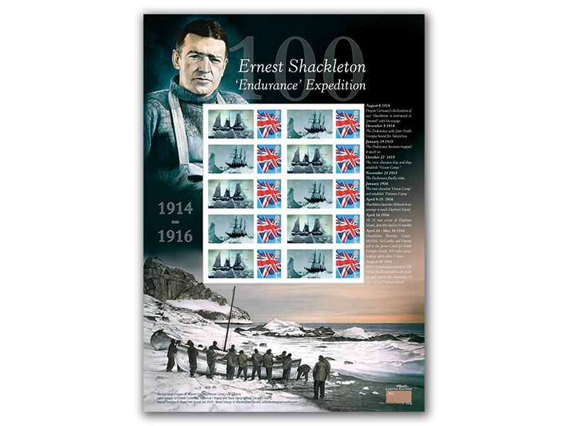 100th Anniversary of Shackletons Antarctic Expedition Stamp Sheet