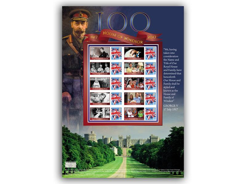 100 Years of the House of Windsor Stamp Presentation Sheet