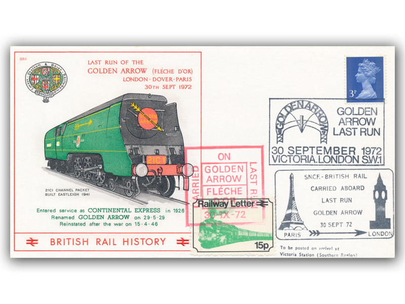 1972 Golden Arrow Last Run carried cover - Paris to London