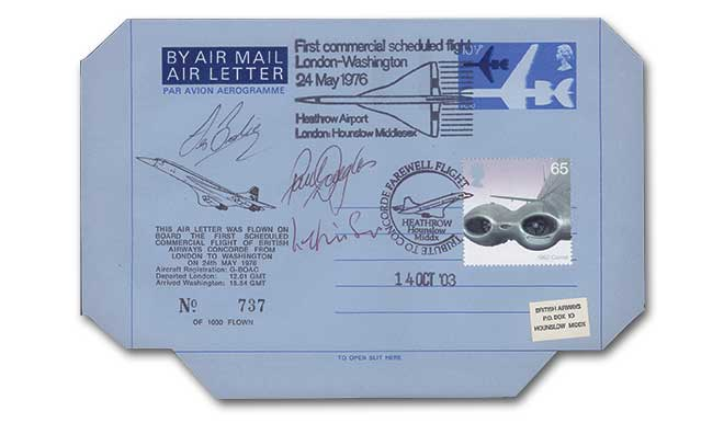 Concorde Flown Airletter, triple signed