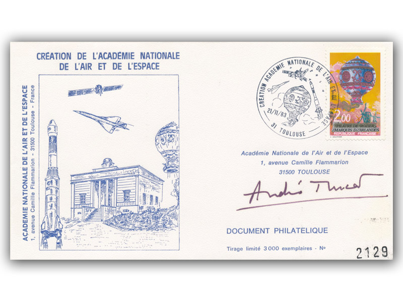 1983 Flown French Space Academy Cover Signed By Andre Turcat