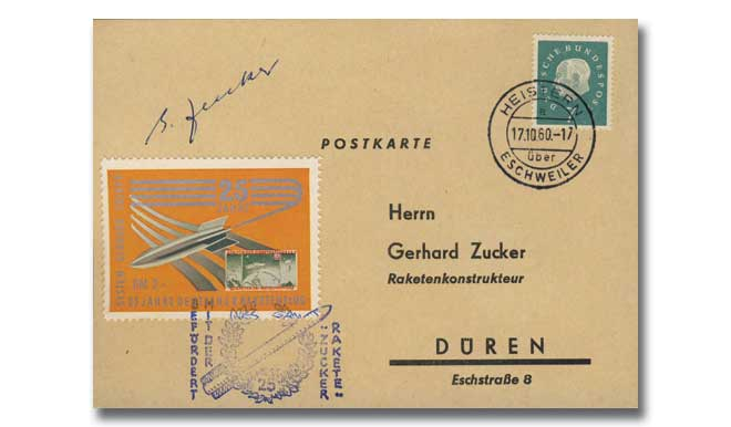Gerhard Zucker signed Rocket Post cover