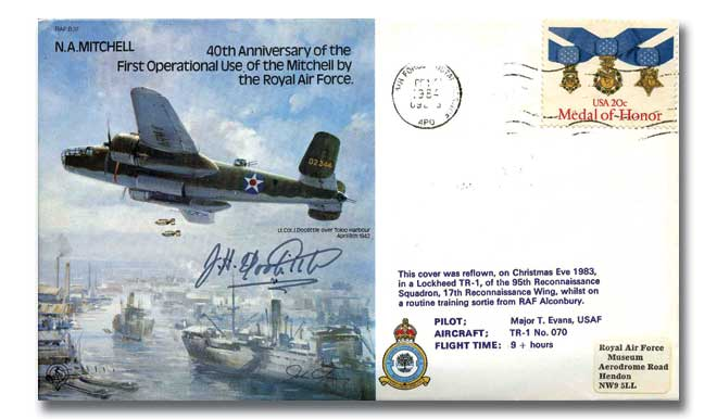 Mitchell Bomber cover signed Jimmy Doolittle