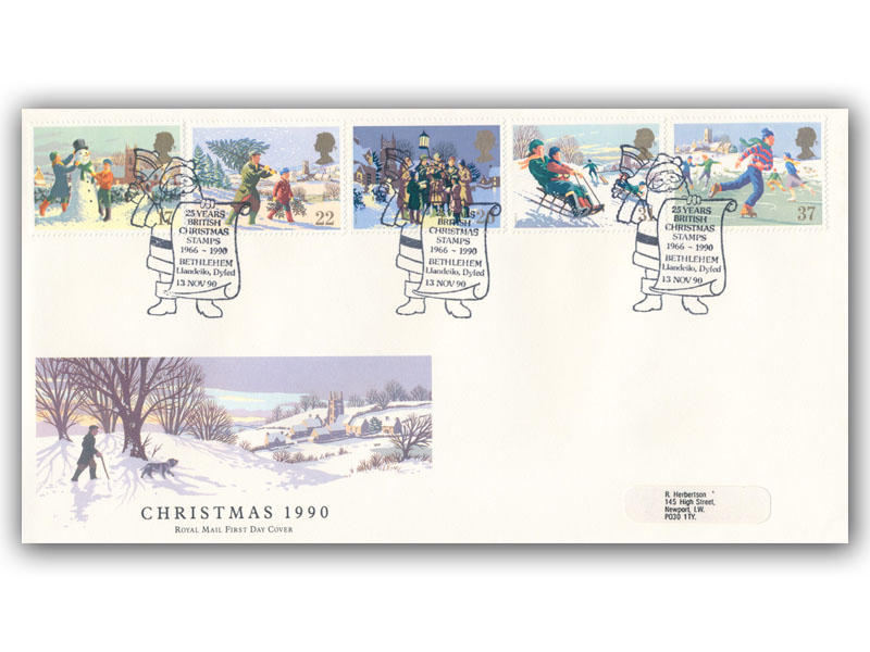 13th November 1990 Christmas First Day Cover
