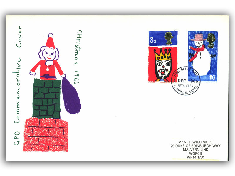 1966 Christmas Ordinary cover with a Bethlehem Postmark