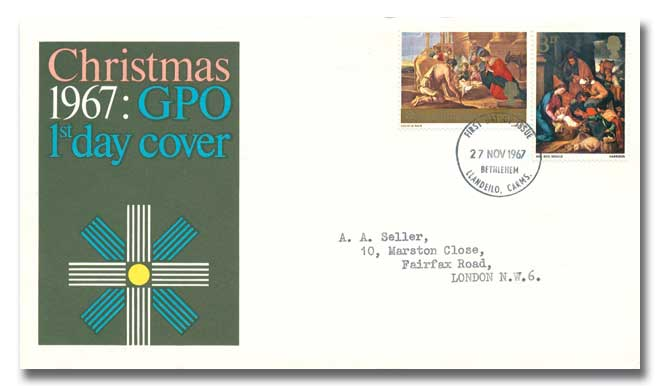 1967 Christmas 3d & 1/6d GPO cover with a Bethlehem Postmark