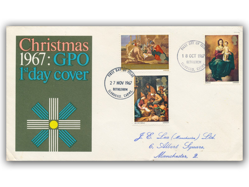 1967 Christmas Double Dated GPO Cover with Bethlehem Postmark