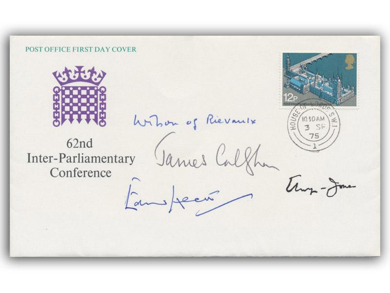 Harold Wilson, James Callaghan, Edward Heath, and Baron Elwyn-Jones