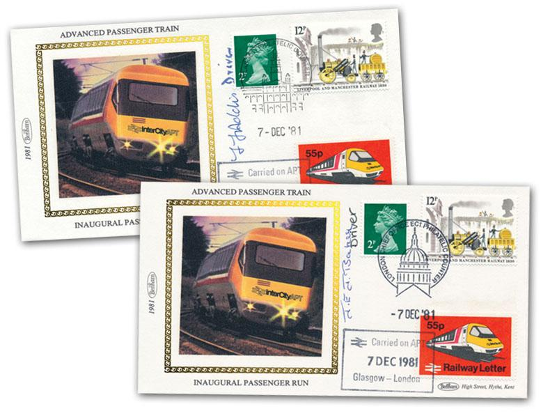 7th December 1981 Benham Advanced Passenger Train Pair of Signed Covers