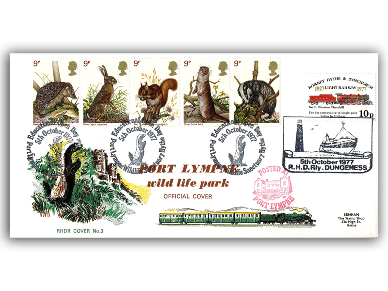 1977 RHDR Wildlife full set carried cover with a Port Lympne postmark