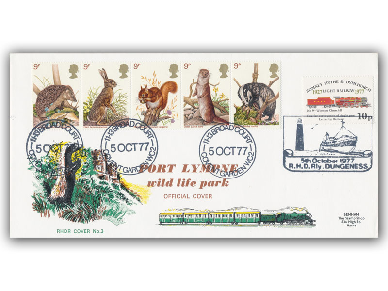 1977 RHDR Wildlife full set carried cover with a Covent Garden postmark