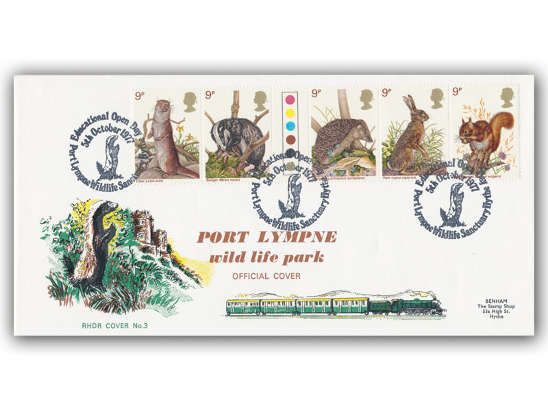 1977 RHDR Wildlife full set cover with a Port Lympne special postmark