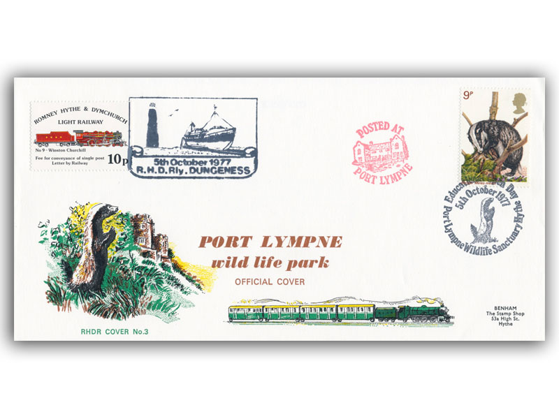 1977 RHDR Wildlife single stamp cover with a Port Lympne postmark