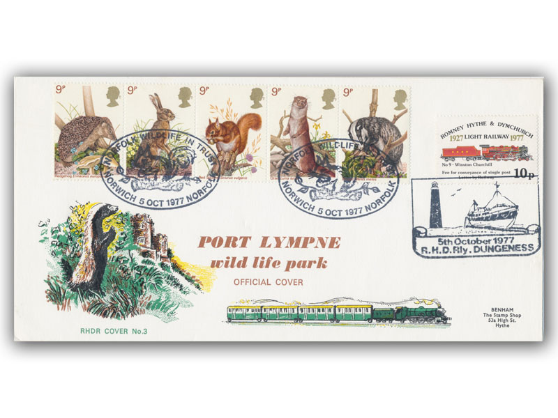 1977 RHDR Wildlife carried cover with a Norfolk Wildlife Trust postmark