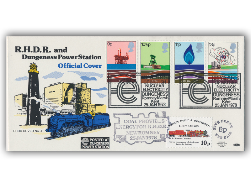 1978 RHDR Energy full set cover with a Dungeness postmark