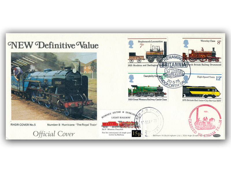 1978 RHDR railway letter stamp full set carried cover