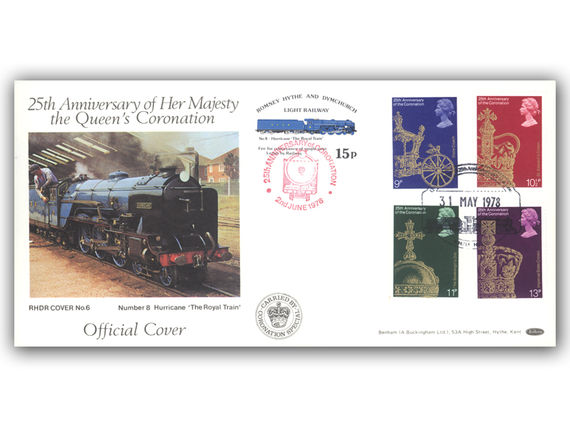 1978 RHDR Coronation full set carried cover with a Hythe postmark