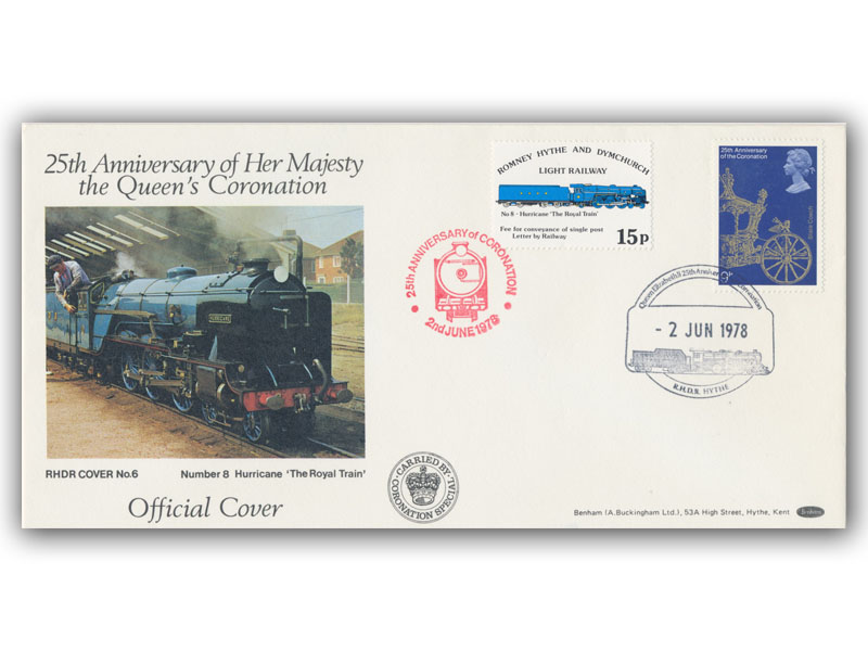 1978 RHDR Coronation single stamp carried cover with a Hythe postmark