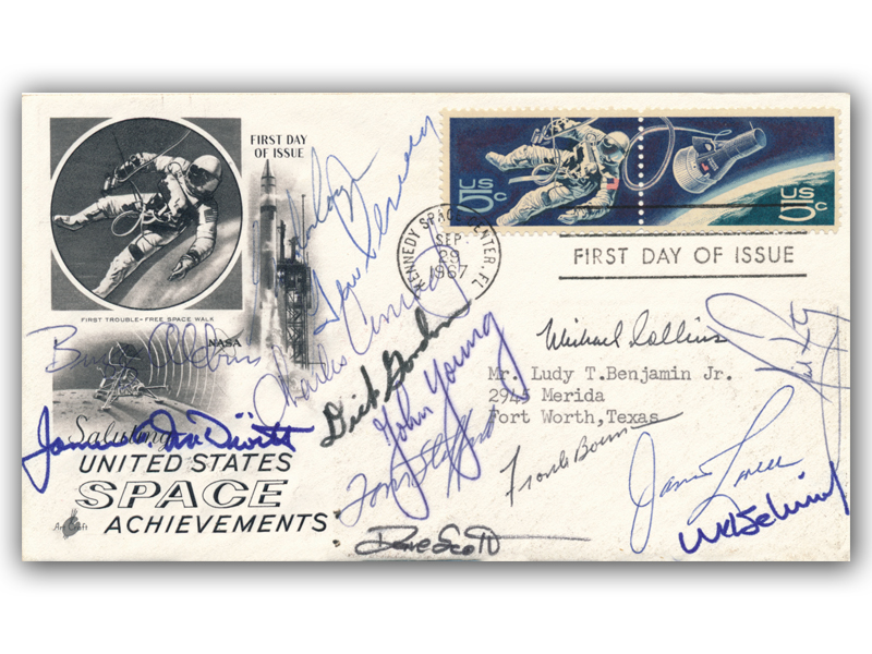 US Space Achievements FDC signed by 14 Astronauts
