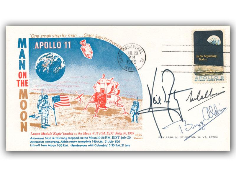 Neil Armstrong, Buzz Aldrin & Michael Collins Signed Apollo 11 Cover