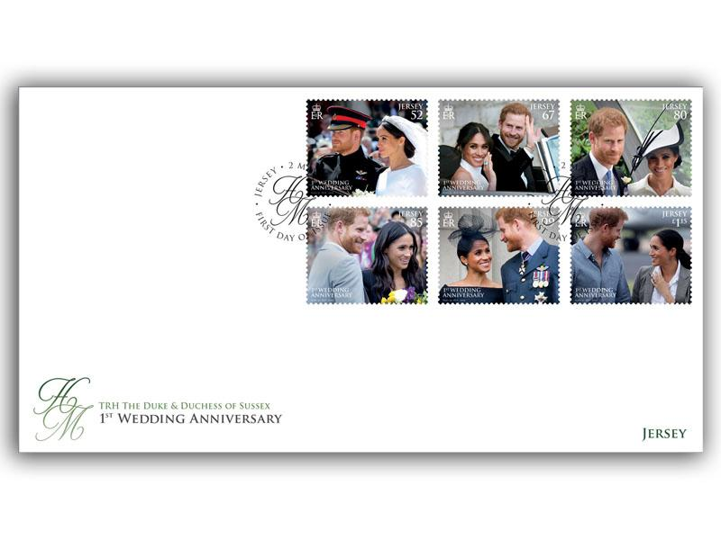1st Wedding Anniversary of the Duke & Duchess of Sussex Jersey First Day Cover
