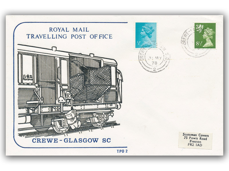 1st June 1978 Travelling Post Office Crewe to Glasgow sc side 1