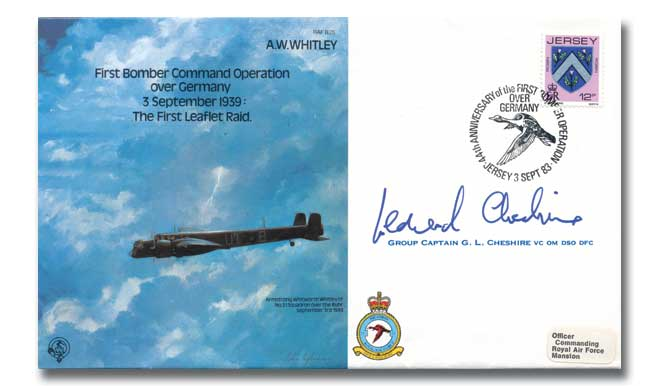 First Bomber Command Operation over Germany: The First Leaflet Raid cover signed Cheshire VC