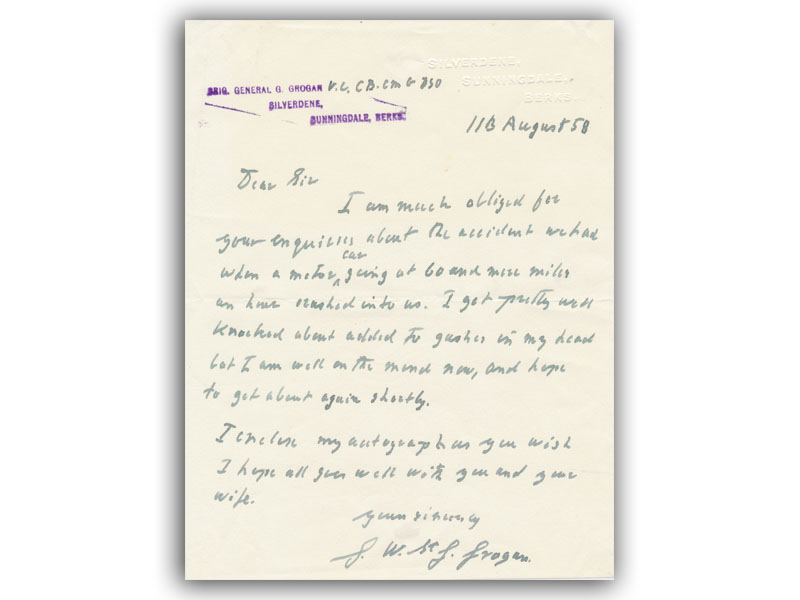 Handwritten letter signed Grogan VC